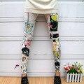 Nuevo de Las Mujeres de La Bandera Americana de Girasol Rayas Estrella de Trazo Fino Leggings Pantalones
