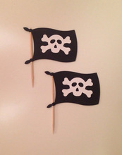 CUTE Pirates Flag Cupcake Toppers baby shower wedding party food picks toothpicks decor