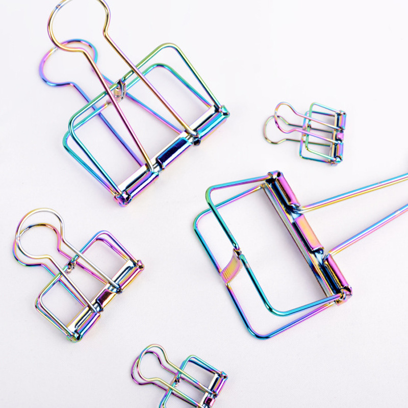 2020 New Colorful Hollow Long Tail Clip Cross Border Hot 19mm/32mm/51mm Metal Plating Rainbow Paper Clip Dovetail Clip