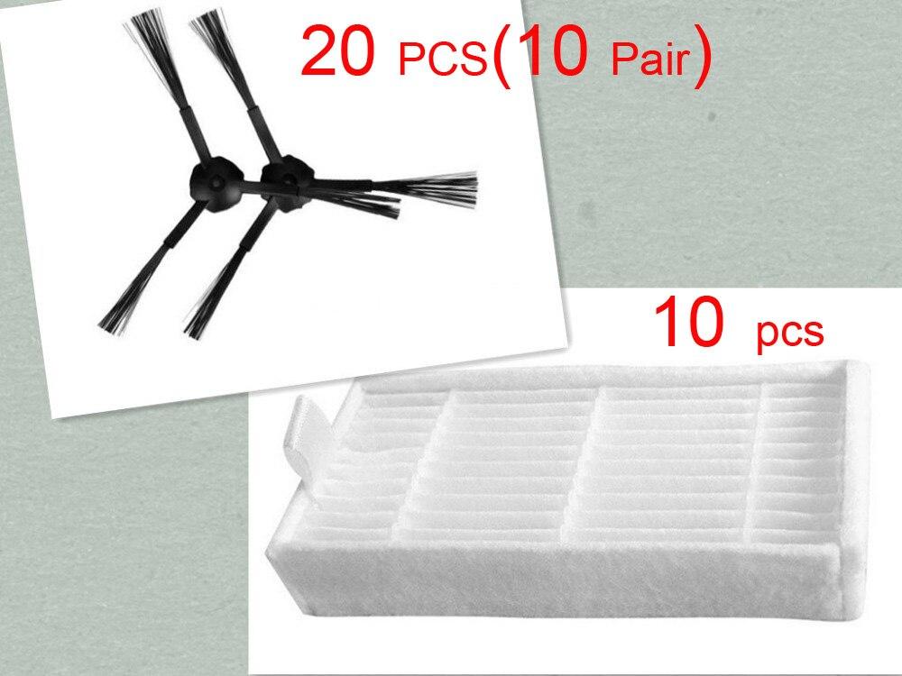 20 pcs Side Brush and 10 pcs Hepa filter for Panda X500 Ecovacs Mirror CR120 Dibea X500 X600 Panda X500 Vacuum cleaner