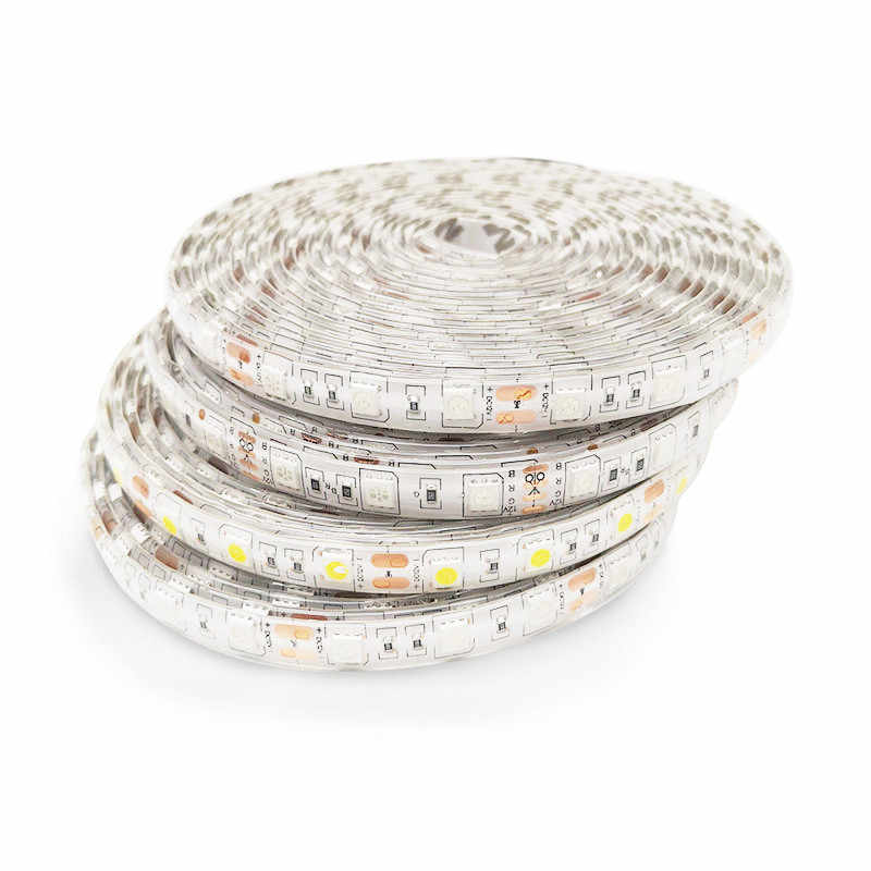 SMD 5050 RGB LED de luz de tira Flexible impermeable 5 M 300LED DC 12 V Fita LED tiras de luz de neón Flexible cinta de Luz de