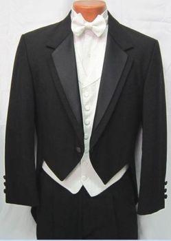 Best selling Black Tailcoat Peak Lapel Groom Tuxedos Groomsmen Men Wedding Suits Prom Clothing (jacket+pants+waistcoat+tie)