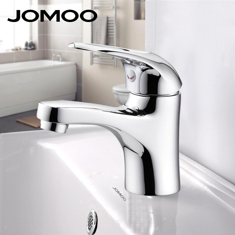 JOMOO Bathroom Basin Faucet Solid Brass Chrome Deck Mounted Basin Mixer Single Handle Hot and Cold Water Tap bathroom faucet цена
