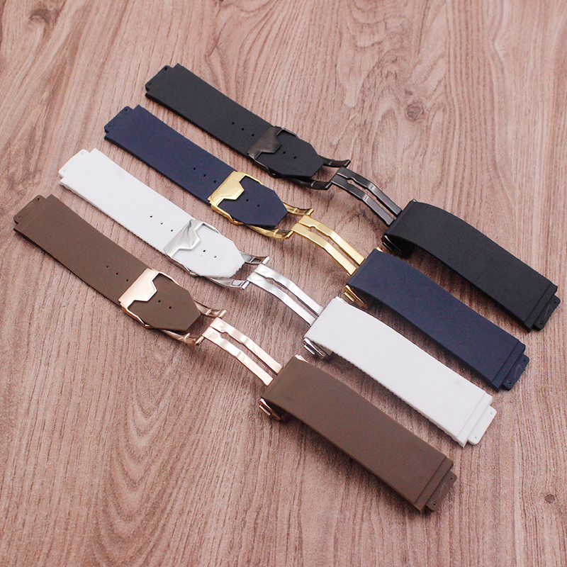 Image 4 - Watch accessories for Hublot watch strap silicone rubber strap BIG BANG men's strap 25 mm* 17 mm strap men's top brand strap-in Watchbands from Watches
