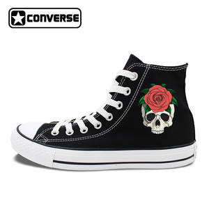 55f926db106c37 Converse JH317 All Star Shoes White Black Canvas Sneakers 05 Skull Red Rose  High