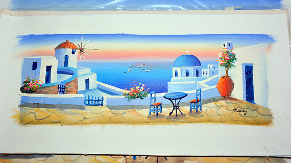 Us 74 8 12 Off Santorini Sunset Landscape Painting Oil Painting Hand Painted On Canvas Palette Knife Landscape Painting Santorini Greece In Painting