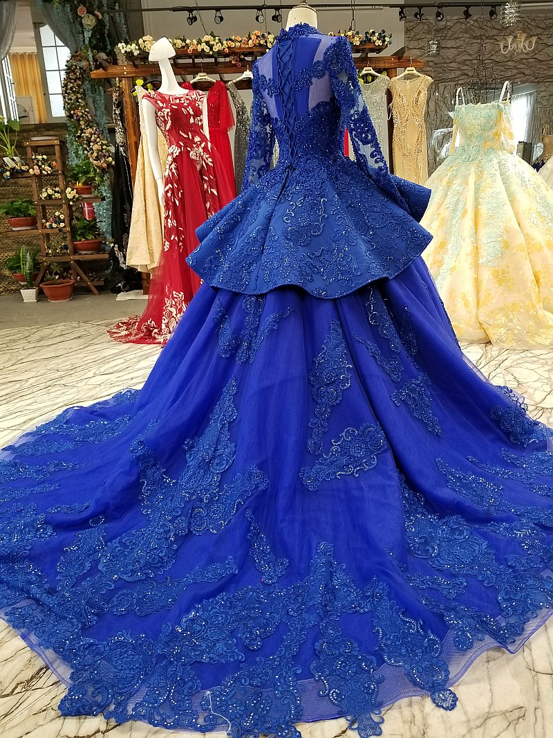Arabic Unique Lace Long Sleeves Sequins Beaded Crystals High Quality Tulle Ball Gown Custom Made Puffy Evening Prom Dresses 2018 in Prom Dresses from Weddings Events