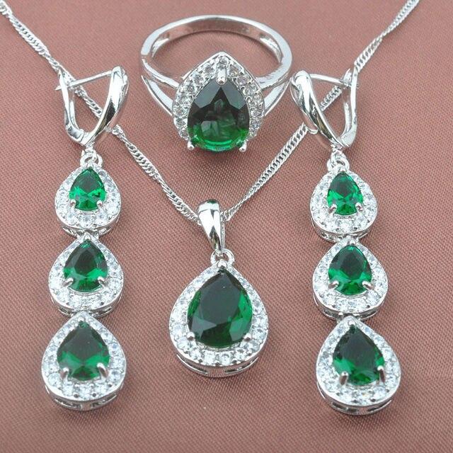 Элегантные женская Зеленый Камень Циркония Серебряные Ювелирные Изделия Устанавливает Ожерелье Серьги Кольца Бесплатная Доставка TS014