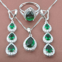 Elegant Women's Green Stone Zirconia 925 Sterling Silver Jewelry Sets Necklace Pendant Drop Earrings Rings Free Shipping TZ0181