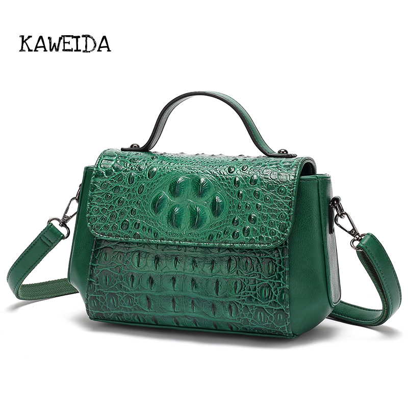 Womens Genuine Leather Alligator Handbag Small Vintage Crossbody Shoulder Bag Ladies Luxury Top-handle Tote Purses Satchel Brown women bags 2017 original design vintage top handle genuine leather rivets satchel shoulder crossbody handbag big tote