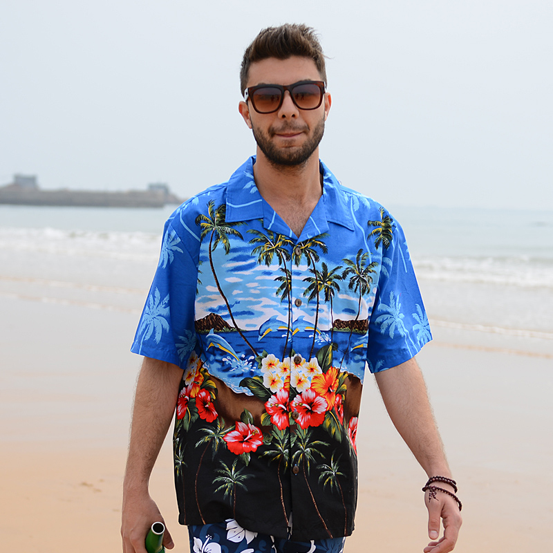e76d7659147 2018 Summer Travel Holiday Men Short Sleeves Floral Printed Shirts Cotton  Plus Size Loose Casual Shirts Hawaii Shirt Tops D086-in Casual Shirts from  Men s ...