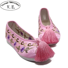 Chinese Women Flats Bride Wedding Shoes Satin Dragon Phoenix Embroidered Tassel Breathable Single Ballet Woman