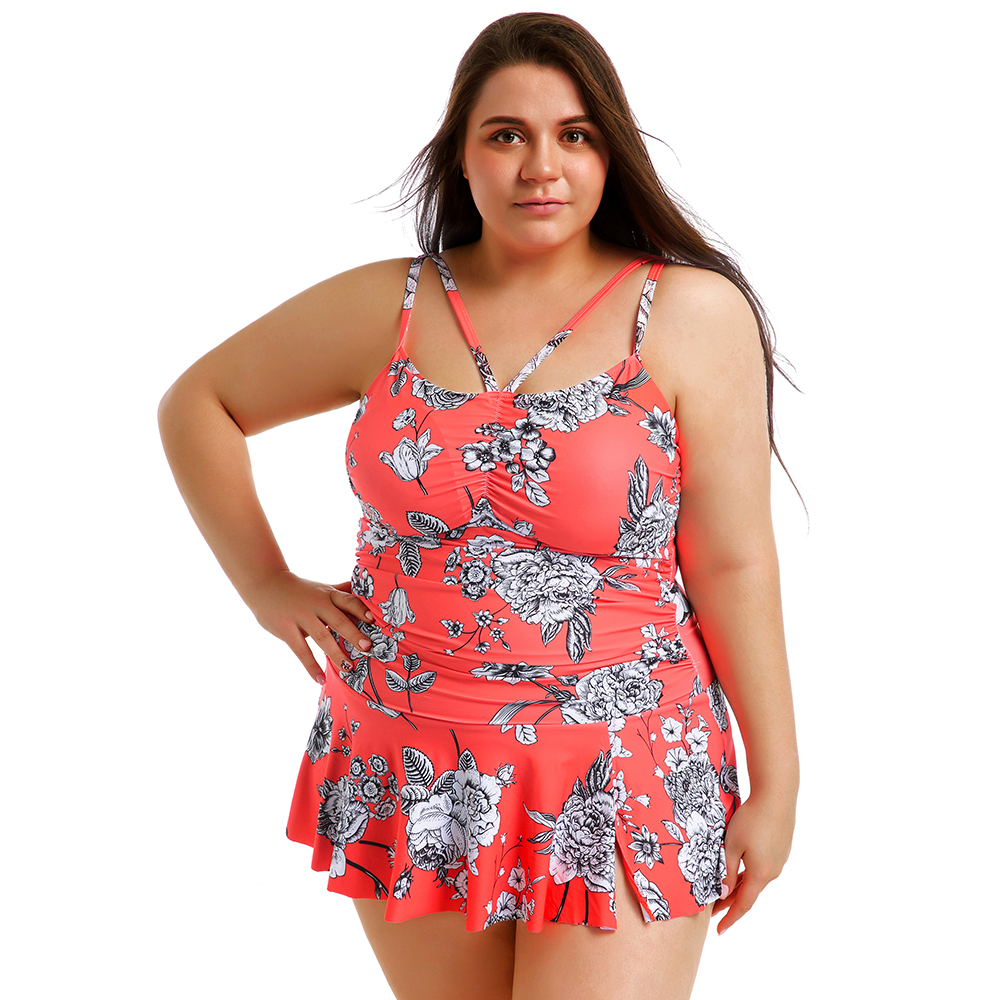 Swimdress Plus Size Swimwear Women Swimsuit Sexy Tankini Set Two-piece Suits Floral Print Padded Bathing Suit