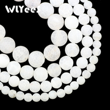 WLYeeS Natural Stone White Round Weathered carnelian 6 8 10 12mm Loose Beads for Jewelry Bracelets Necklace Making DIY Accessory