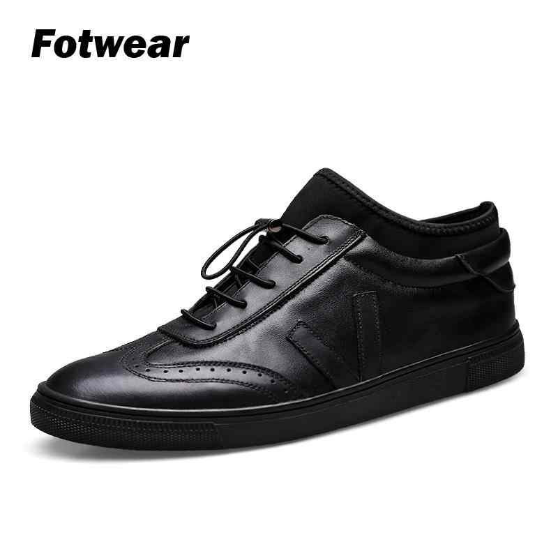 Fotwear Men's Genuine Leather shoes Premium lace-up shoes Soft textile lining Long-lasting comfort Good cushioning and rebound