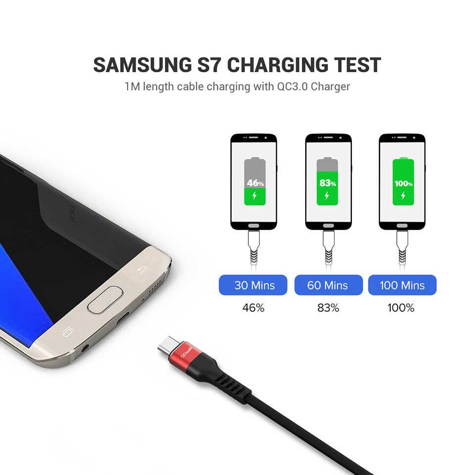Qgeem cabo micro usb 2.4a, cabo de dados de usb de carregamento rápido em nylon para samsung xiaomi lg tablet android mobile phone usb cabo de carregamento