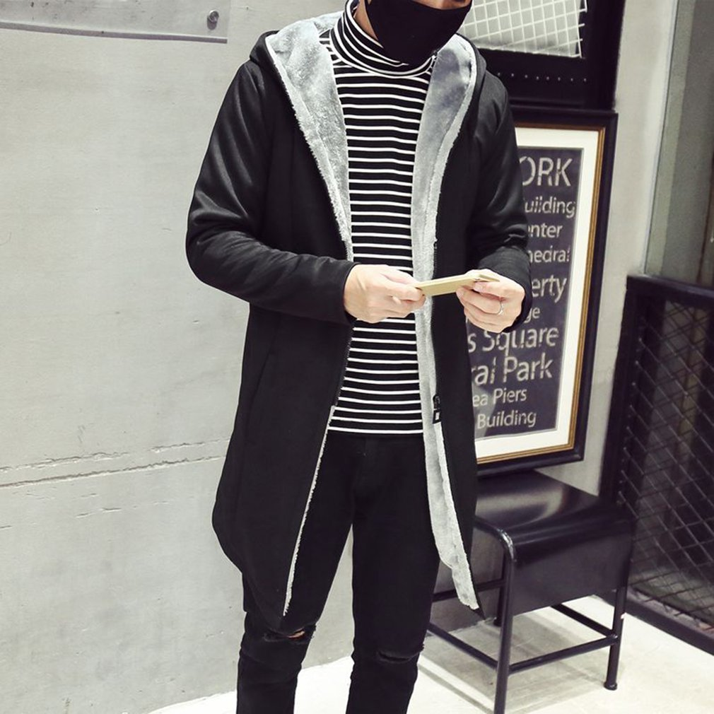 Men Winter Long Coat Warm Velvet Jackets 2018 Casual Slim Elegant Plus Size 3XL Overcoat Hooded Windbreak Zipper Mont Erkek