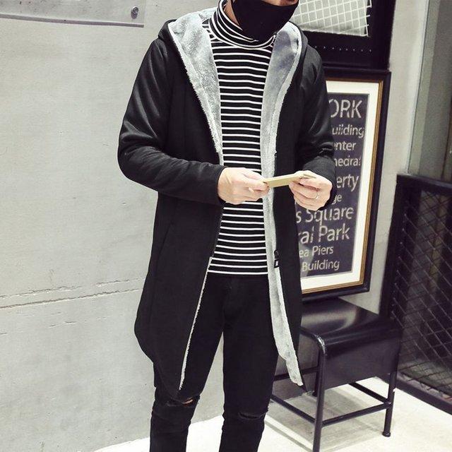 Jampelle Men Winter Long Coat Warm Velvet Jackets 2018 Casual Slim Elegant