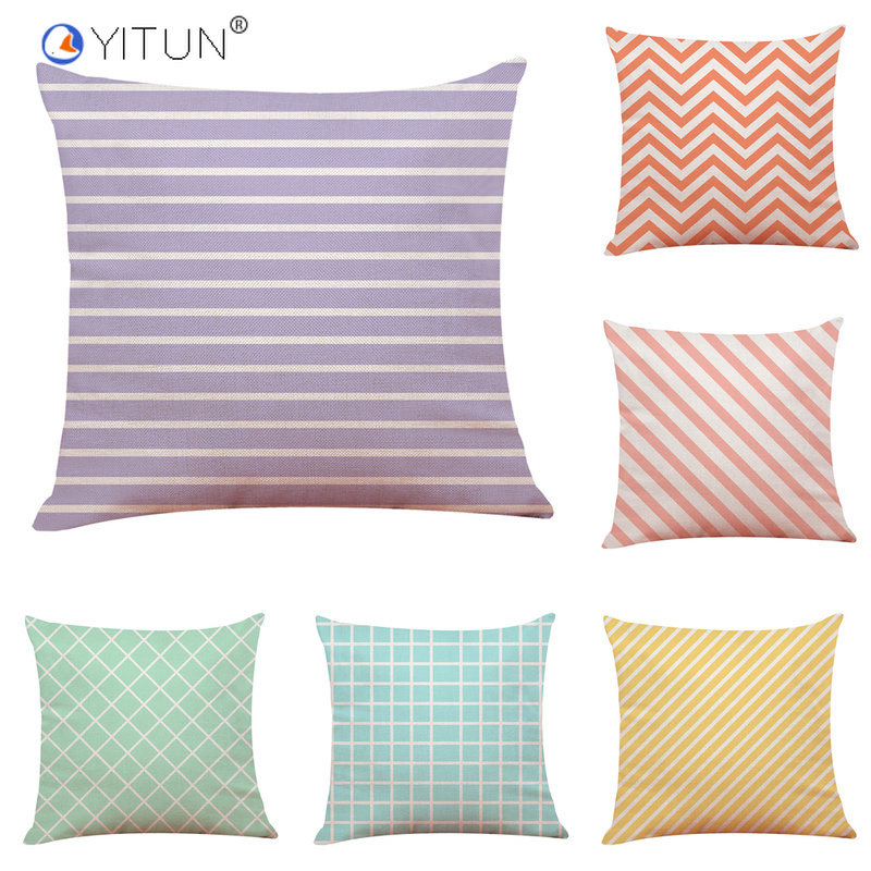 YITUN 45*45cm Pillow Case Striped Simple Throw Pillowcases Square Printing Sham Woven Cover Polyester / Cotton