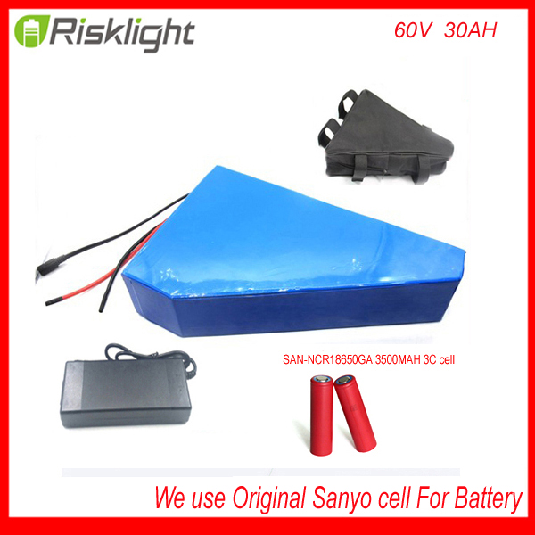 Free customs taxes ebik 60v 3000w  triangle style lithium battery 60v 30ah electric bike battery triangle pack For Sanyo cell free customs taxes and shipping 60 volt 3000w rechargeable 60v 25ah lithium ion battery pack with bms and charger