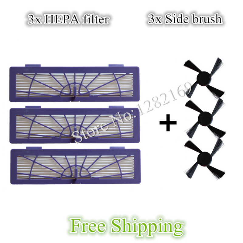3x side Brush and 3x HEPA Filter for Neato BotVac 70e 750 85 80 Robot Vacuum Cleaner 1 piece robot brush motor belt for neato botvac series 70e 75 80 85 robotic vacuum cleaner brush drive parts