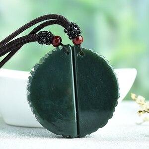 Image 2 - 100% Подвеска из натурального зеленого нефрита с резным китайским драконом ожерельлье Феникса для женщин и мужчин ювелирные изделия для влюбленных Бесплатная веревка