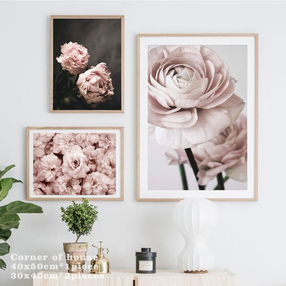 HTB1pmYJe2WG3KVjSZFgq6zTspXaN Modern Romantic Light Pink Peonies Flowers Canvas Paintings Gallery Posters Prints Wall Art Pictures Bedroom Interior Home Decor