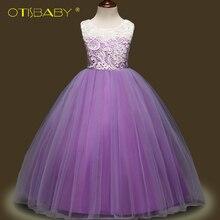 OTISBABY Teenger Clothing Girls Lace Flower Tulle Tutu Long Princess Dress Formal Elegant Children Child Kids Mesh Baptism Dress