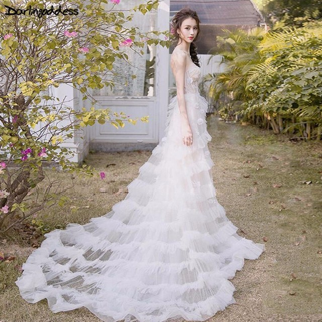 Vestido de Novia Sexy Beach Wedding Dress 2018 White Tulle 3D Flowers  Beaded Beach Wedding Gowns Real Photo Tiered Bridal Dress 87387d1f0d6d