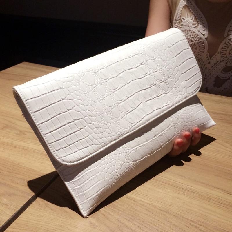ФОТО Big Envelope Crossbody Bag Alligator Grain Pattern Leather Genuine Women Shoulder Bags Purses and Handbags Designer