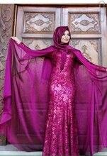 Meerjungfrau Hoher Kragen Lange Ärmel Rose Rot Mit Hijab Stickerei Bodenlangen Long Sleeve Abendkleid Dubai Kaftan Kleid