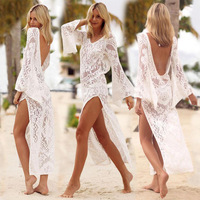 2018 Bikini Cover Up Backless Lace Tunic beach Dress Cover swimwear Women Robe de Plage Beach cardigan Bathing suit