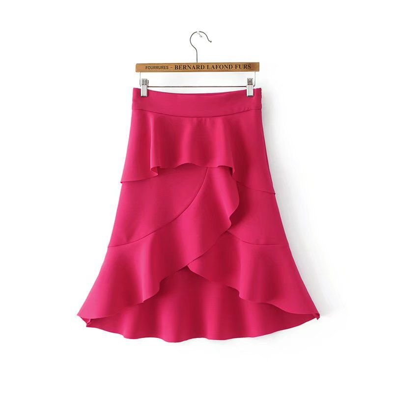 HTB1pmYUQFXXXXclXFXXq6xXFXXX1 - FREE SHIPPING women summer ruffles skirt rose red irregular skirt JKP270