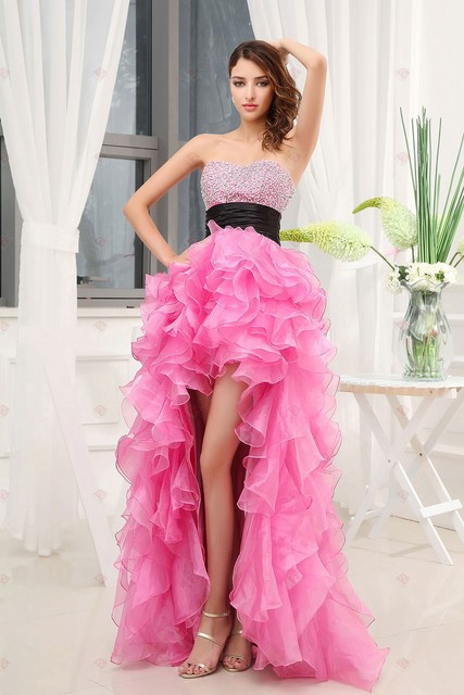 3950aa29c25 Sexy Pink With Black Sashes Off the Shoulder Asymmetrical Floor-Length  Sweetheart Ruffles Beautiful Quinceanera