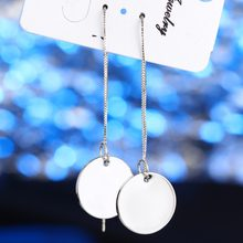 Brand Trendy Drop Earrings Jewelry Ear Silver Long Chain Brincos for Girls Geometric Pendant Dangle Earrings Party Jewelry(China)