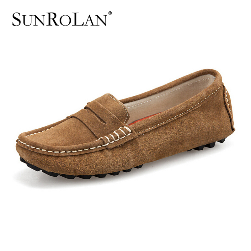 Sunrolan Women Slip On Loafers Suede Leather Casual Flat