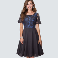 Ladies Retro Rockabilly Chiffon Swing Party Dresses New Summer Womens Clothing Classic Paisley Lace Patchwork Black