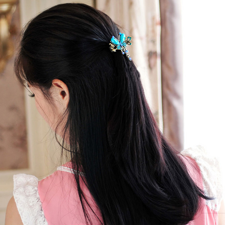 HTB1pmZ1MXXXXXbqXFXXq6xXFXXXq Vintage Women Turquoise Butterfly Flower Hair Barrette With Rhinestone Crystals - 5 Colors