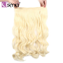 USMei 24inch clip hair extension natural hair long body wavy brown blonde fiber synthetic clip ins hairpieces for women(China)