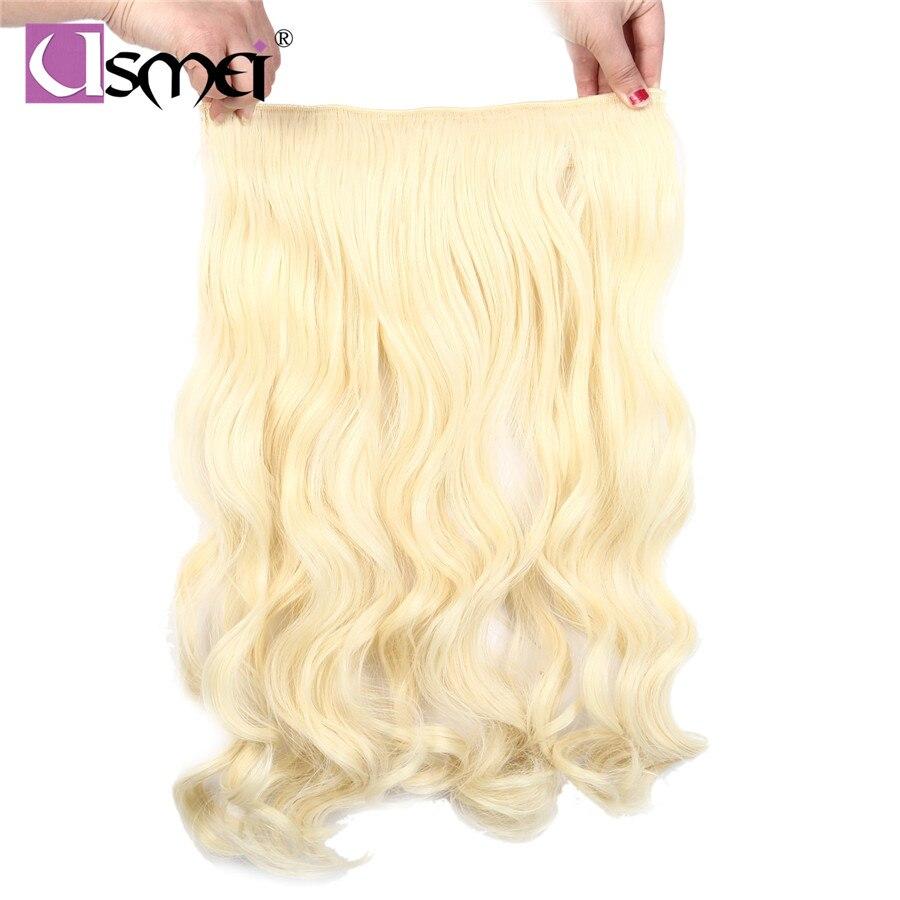 Usmei 24 дюйма зажим для волос натуральных волос длинное тело волнистые коричневый белый волокна синтетические клип модули шиньоны для женщин ...