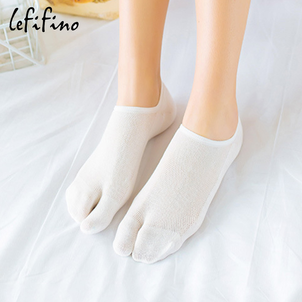 Summer Women Non-slip Silicone Cotton   Socks   Flip Flop Ninja Tabi Toe   Socks   Breathable Mesh Two Fingers No Show   Socks   Ne72240