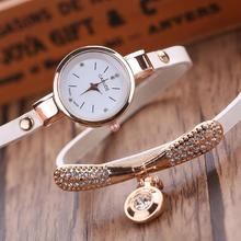 Luxury Leather Bracelet Gemstone Wristwatches for Gift