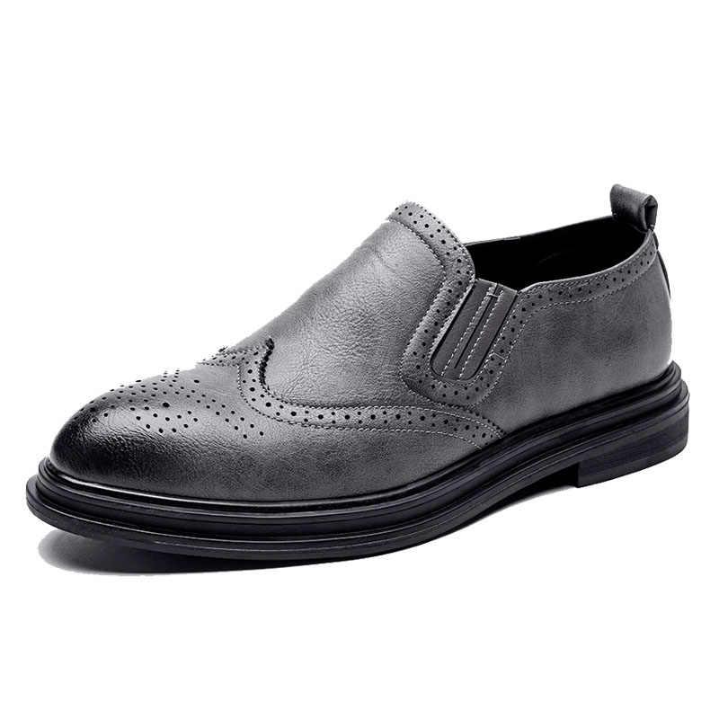 DXKZMCM ผู้ชายรองเท้า Handmade Brogue สไตล์ Paty หนังรองเท้าผู้ชายรองเท้าหนัง Oxfords รองเท้าอย่างเป็นทางการ