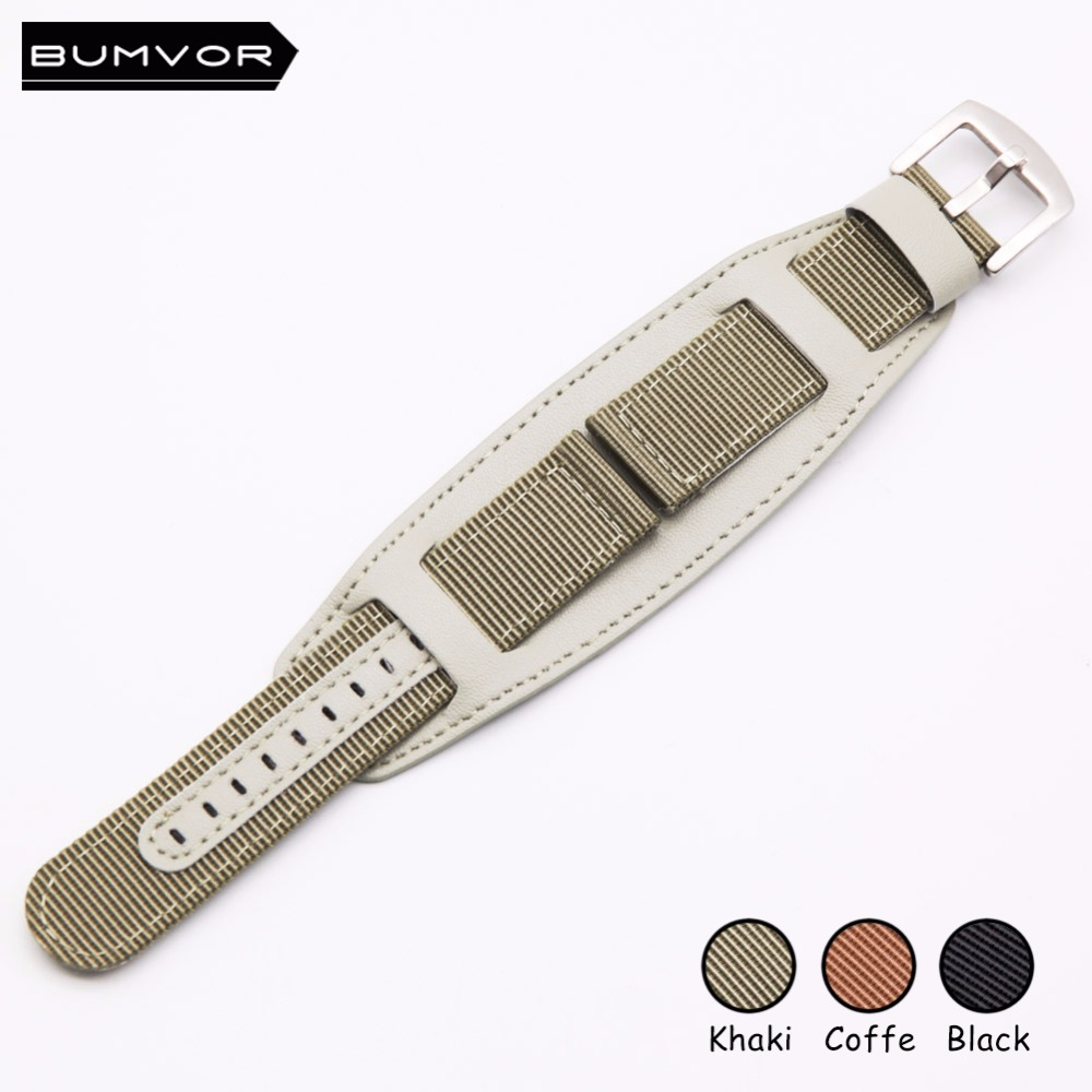 High quality Military Army Nylon <font><b>leather</b></font> FabricWrist <font><b>Watch</b></font> <font><b>Band</b></font> Strap 18 20 <font><b>22</b></font> 24 <font><b>mm</b></font> Khaki Brown Black sport men women image