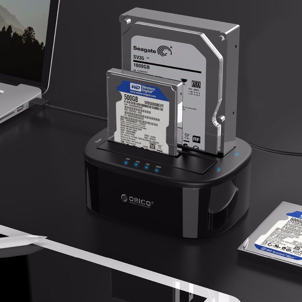 ORICO USB 3.0 à SATA Double-Bay Disque Dur Station D'accueil pour 2.5/3.5 pouce HDD/SSD avec Hors Ligne Clone Fonction [UASP Protocole] - 6