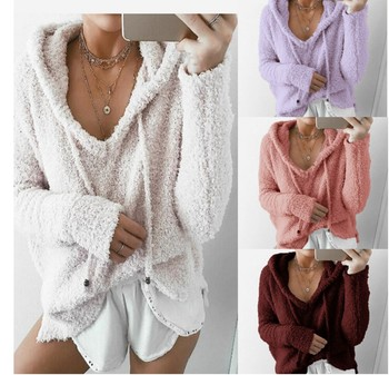 цена на Autumn Top Women Casual Mohair Hooded Pullovers V Neck Fleece Sweater Fashion Sweet Loose Warm Winter Mohair Tops Pullover