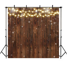 NeoBack Retro Wood Backdrop Rustic Bright Lights Photography Background Bridal Shower Wedding Birthday Photoshoot Props(China)