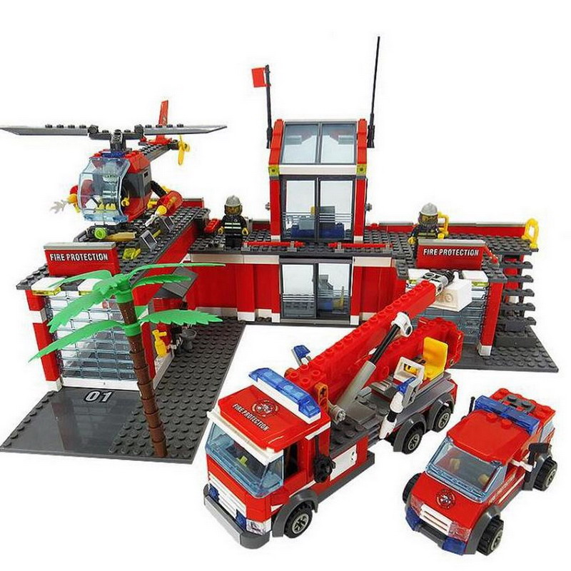 8051 KAZI 2017 City Fire Station Model Building Blocks Classic Enlighten DIY Figure Toys For Children Compatible Legoe 10639 bela city explorers volcano crawler model building blocks classic enlighten diy figure toys for children compatible legoe