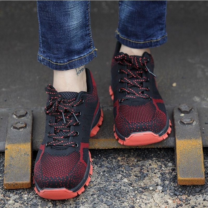Sapatos azul up Lace Segurança Do Mens Northmarch Respirável Zapatos Shoes Trabalho Hombre Preto Quente Hard Proteção Calçado vermelho De Casual Venda wearing zR8xS8gXq