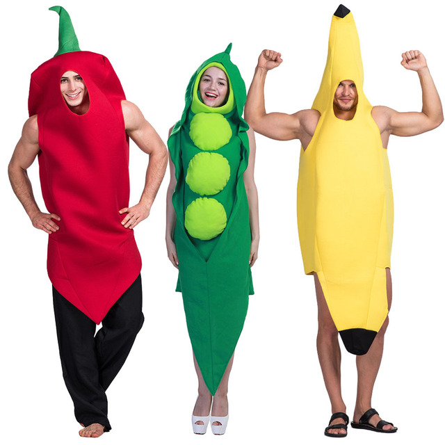 8c1452b69e475 Adult Food Banana Costume Fruit Vegetable Family Funny Onesie Mascot Costume  Chili Pepper Peas in a